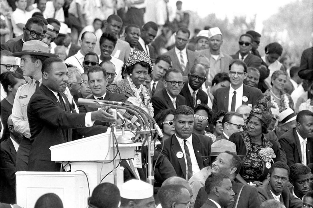 "The Rev. Martin Luther King Jr. gestures during his ""I Have a Dream"" speech in Washington on Aug. 28, 1963."