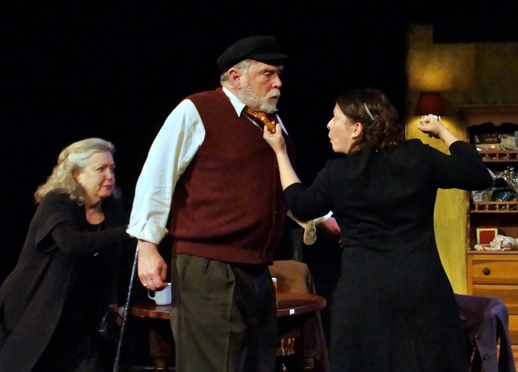 "Maureen Butler as Aoife Muldoon, Tony Reilly as Tony Reilly, and Janice Gardner as Aoife's daughter, Rosemary, in ""Outside Mullingar."""