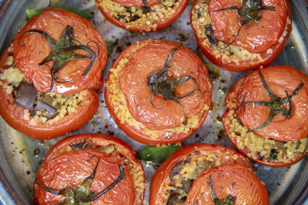 Baking tomatoes is an excellent strategy for using up the less-than-perfectly-sweet ones.