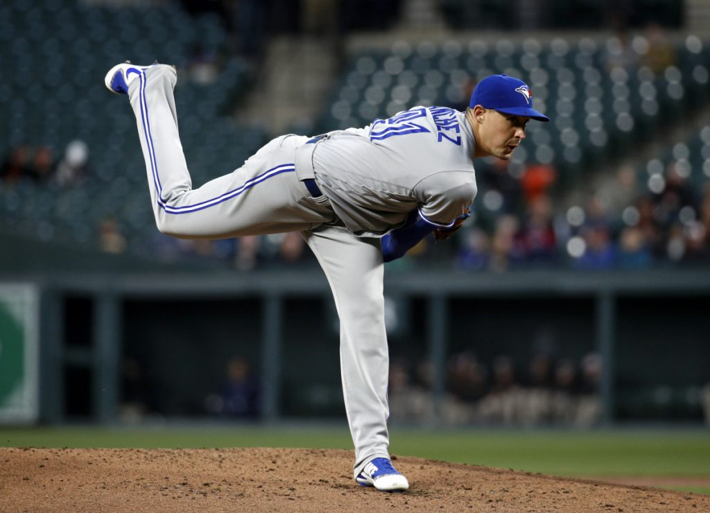 Blue Jays starter Aaron Sanchez lost his a no-hitter in the eighth inning, but still got the win when Toronto edged the Orioles 2-1 in Baltimore.