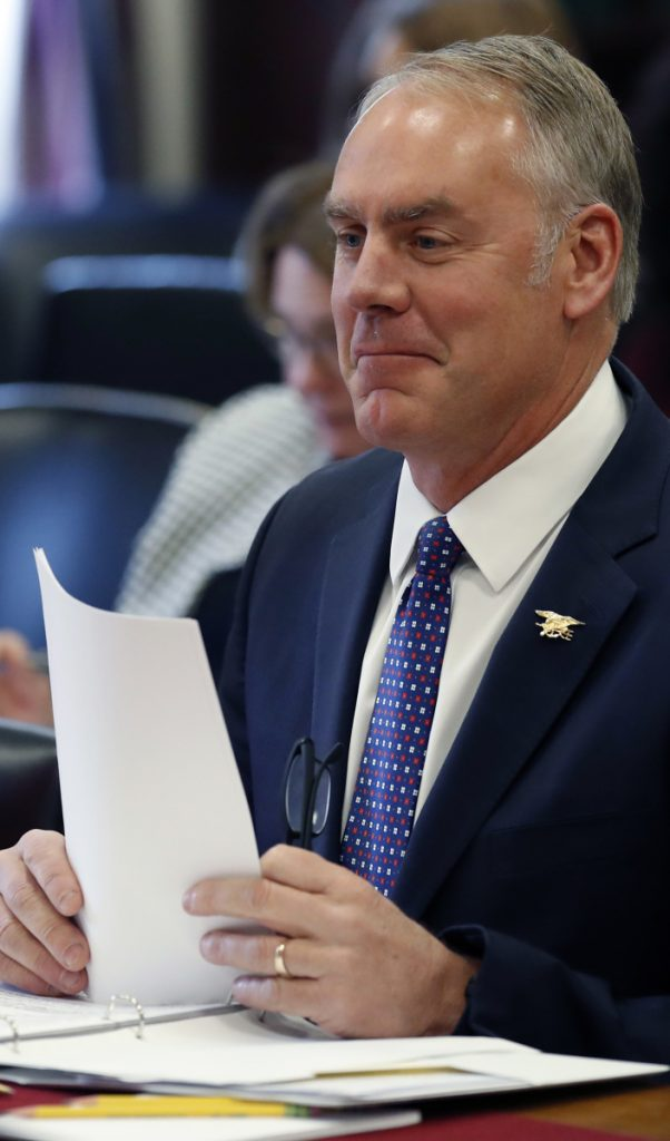 "Interior Secretary Ryan Zinke testifies Wednesday before a House subcommittee. Maine Rep. Chellie Pingree said he'd ""made a lot of good arguments about why Maine should be exempted"" from offshore oil and gas exploration."
