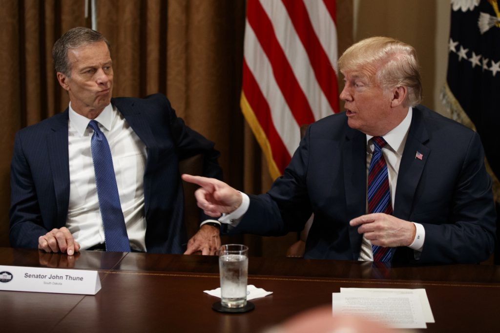 Sen. John Thune, R-S.D., listens as President Trump speaks during a meeting with governors and lawmakers in the Cabinet Room of the White House on Thursday in Washington. Trump suggested exploring the possibility of rejoining the Trans-Pacific Partnership.