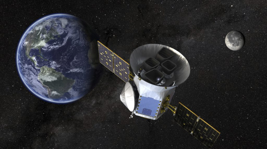 This image made available by NASA shows an illustration of the Transiting Exoplanet Survey Satellite. The probe will prowl for planets around the closest, brightest stars.