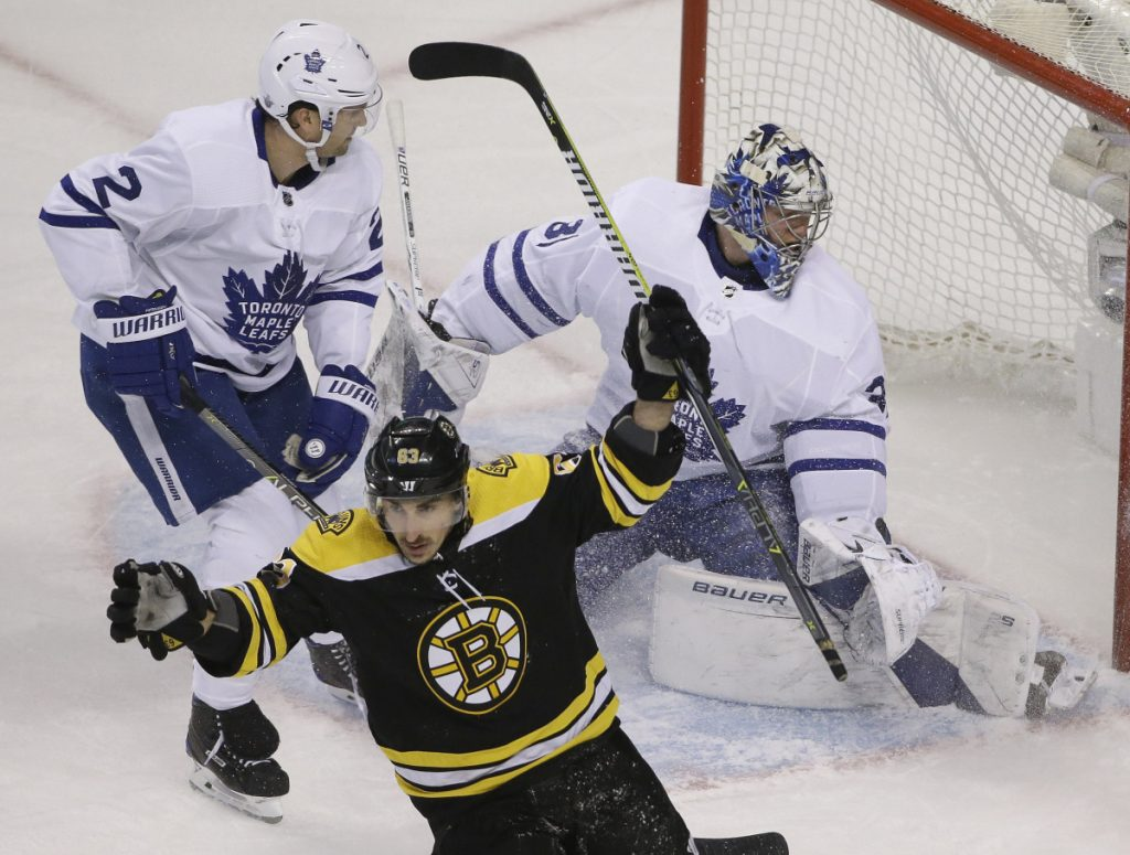 Boston's Brad Marchand had a goal and an assist in Thursday's playoff opener Thursday night against the Maple Leafs.