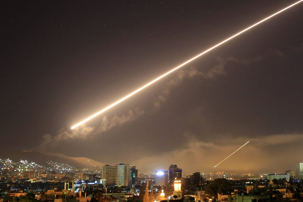 Damascus skies erupt with surface-to-air missile fire as the U.S. launches an attack on Syria targeting different parts of the capital of Damascus.