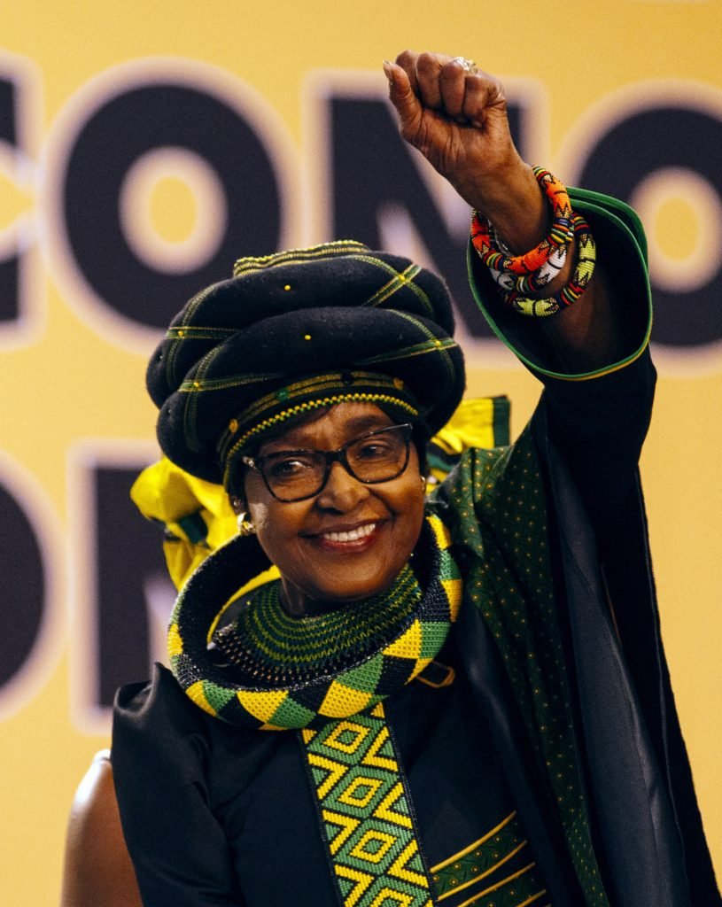 Winnie Madikizela-Mandela greets the audience during the 54th national conference of the African National Congress party in Johannesburg in December.