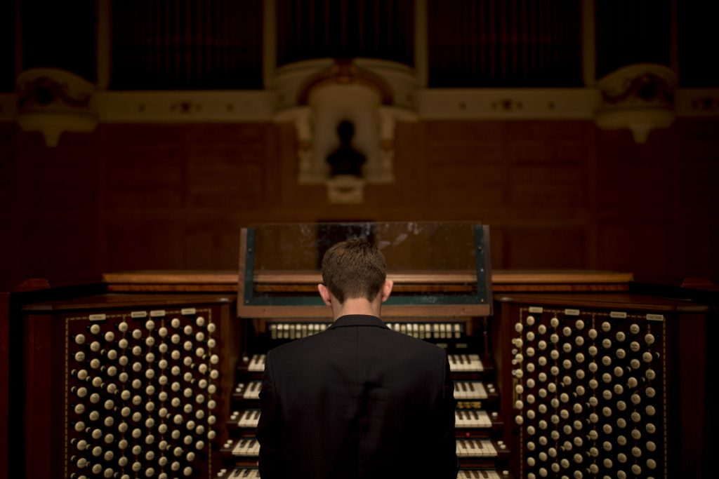 James Kennerley listened to recordings of the Kotzschmar organ in Portland while he was growing up in England. Staff photo by Brianna Soukup