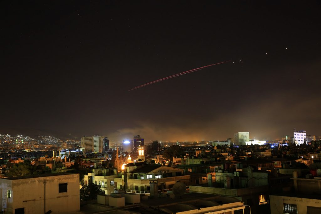 Explosions lit up the skies with anti-aircraft fire, over Damascus, the Syrian capital, as the U.S. launched an attack on Syria targeting different parts of the Syrian capital.
