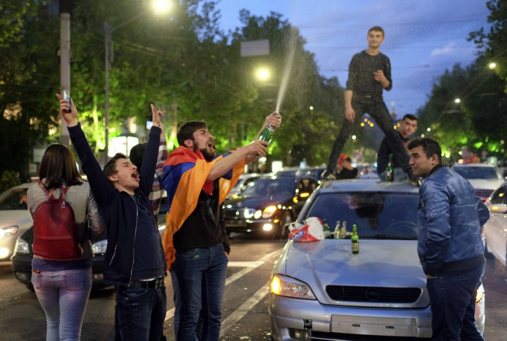 People celebrate Serzh Sargsyan's resignation in Republic Square in Yerevan, Armenia, on Monday.