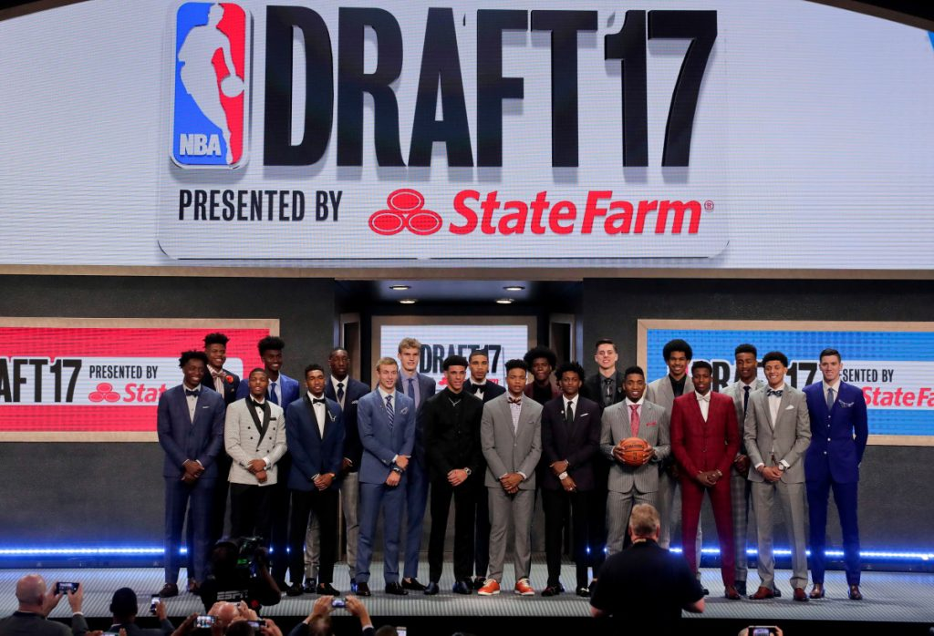 Top draft prospects gather in June 2017 for a group photo before the NBA basketball draft in New York.