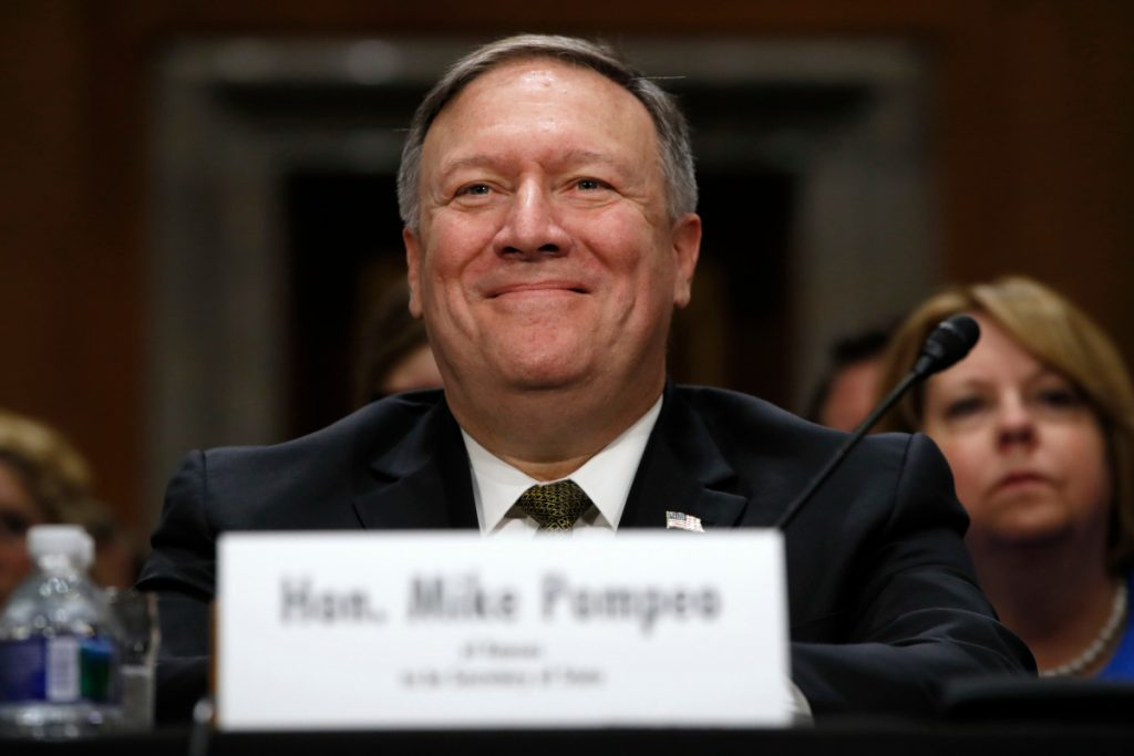 Mike Pompeo smiles after his introduction before the Senate Foreign Relations Committee during a confirmation hearing for him to become the next secretary of state, on Capitol Hill in Washington this month.