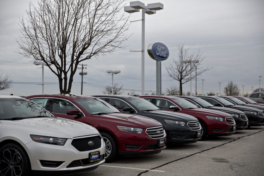 2017 Ford Taurus vehicles on display at a dealership in Matteson, Illinois.