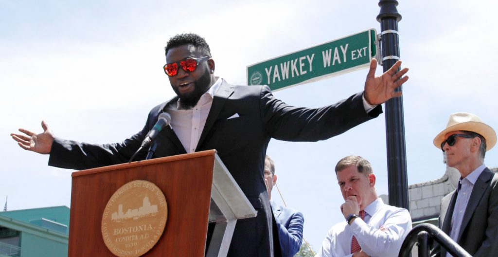 Retired Boston Red Sox designated hitter David Ortiz is honored with the renaming of a portion of Yawkey Way to David Ortiz Drive in 2017.