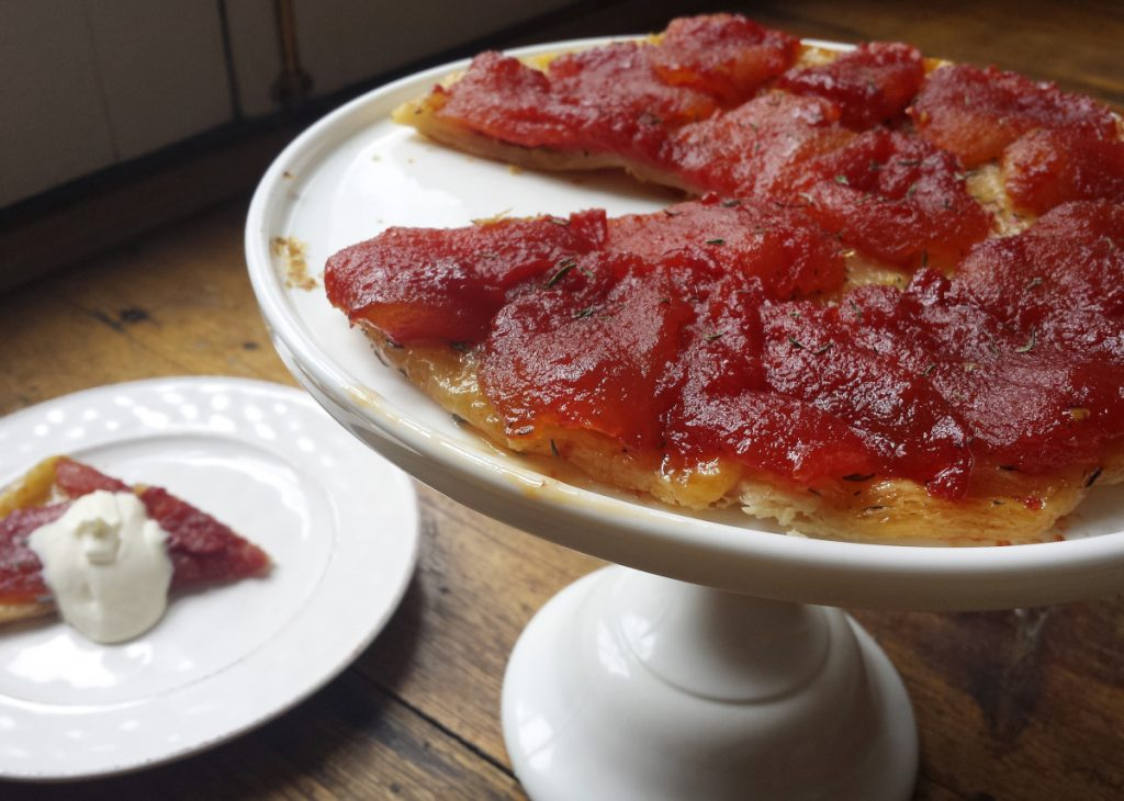 This recipe for Frozen Tomato Tarte Tatin works equally well with fresh plum tomatoes.