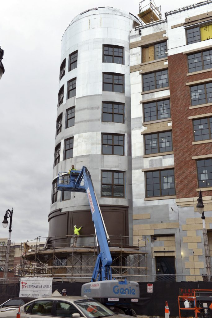 Construction is progressing on the hotel portion of the MGM Casino in downtown Springfield, Mass., which is on track to open in August, a few weeks ahead of schedule.
