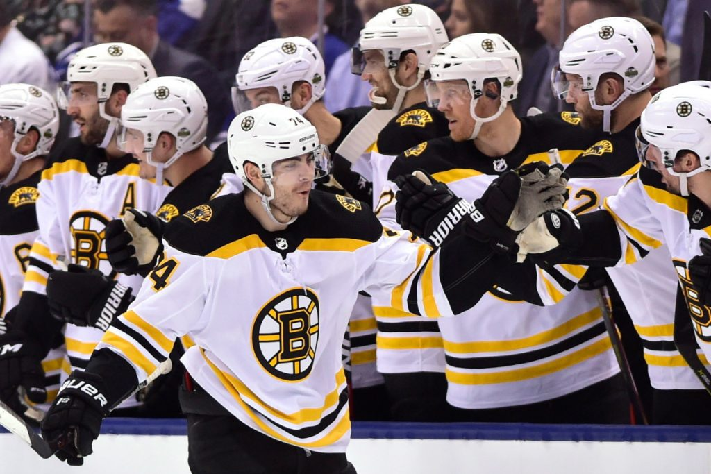 Jake DeBrusk had a big Game 7 Wednesday night against the Maple Leafs. He scored in the second period and put the Bruins ahead for good in the third period after they rallied for four goals in the final period.