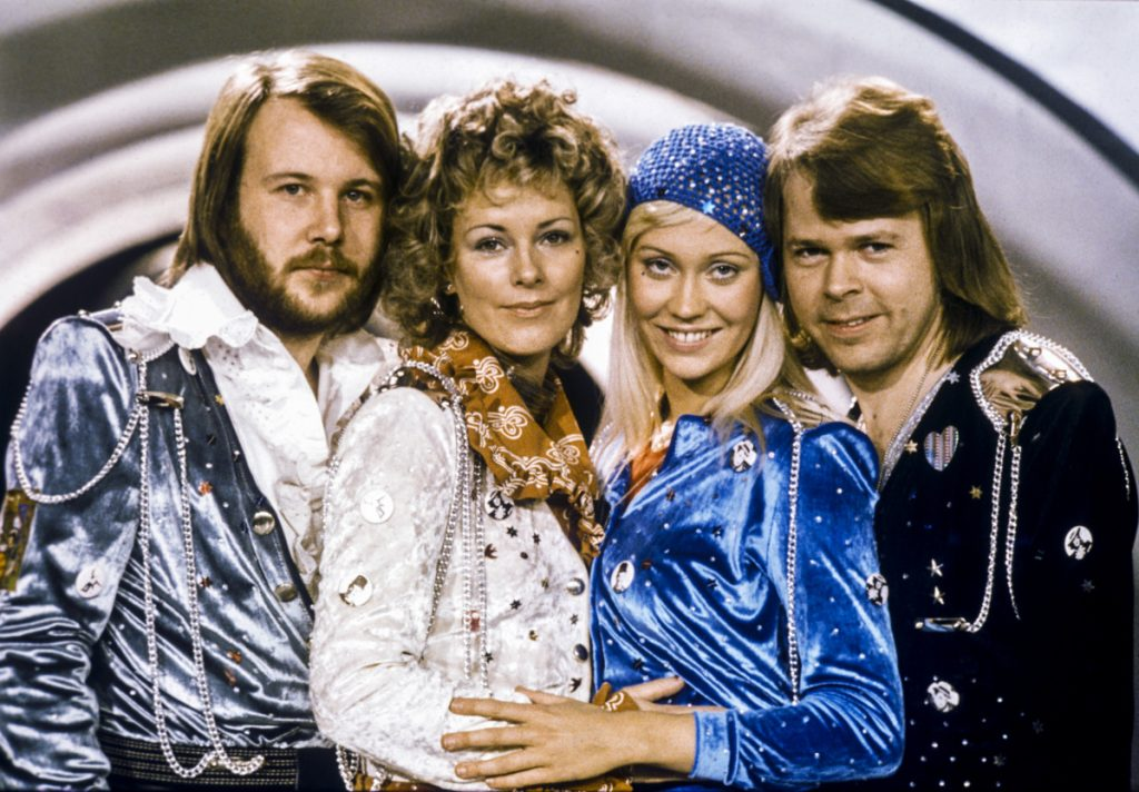 The Swedish pop group Abba shown in 1974, from left: Benny Andersson, Anni-Frid Lyngstad, Agnetha Faltskog and Bjorn Ulvaeus posing after winning the Swedish branch of the Eurovision Song Contest with their song