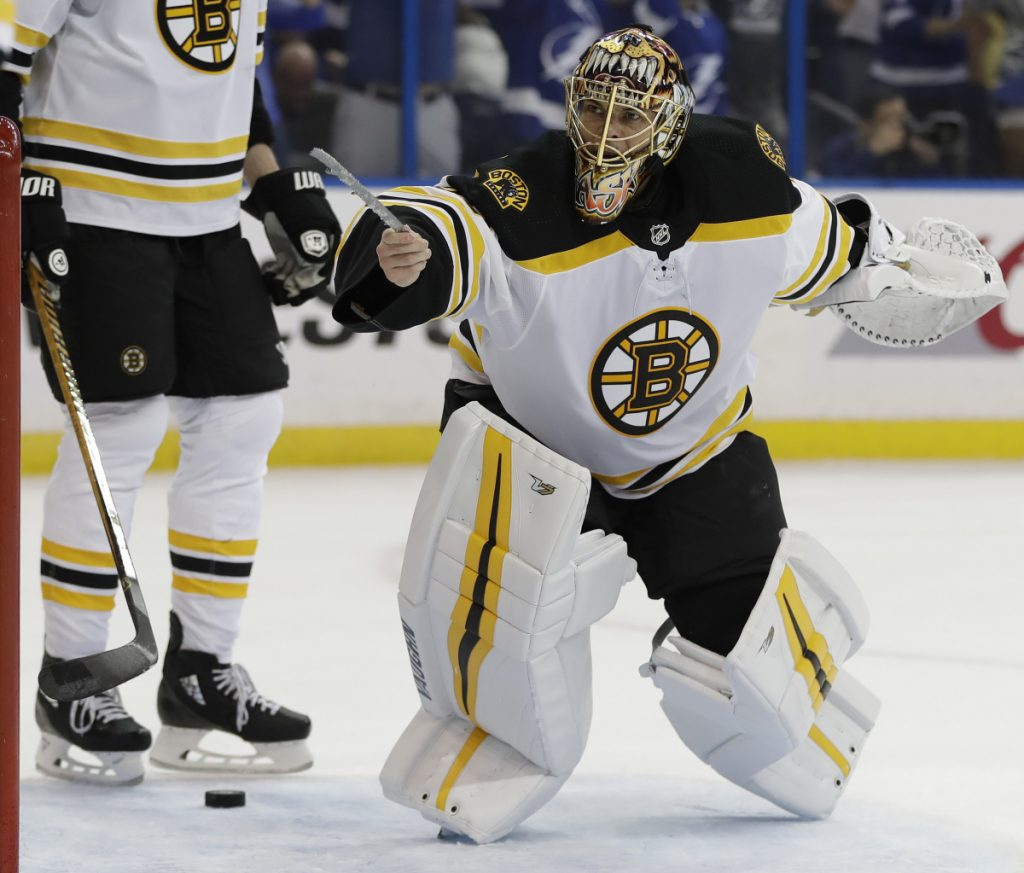 After allowing a second-period goal while hindered by a broken skate blade, Bruins goalie Tuukka Rask was perfect the rest of the way Saturday, helping Boston to a 6-1 win over the Lightning.