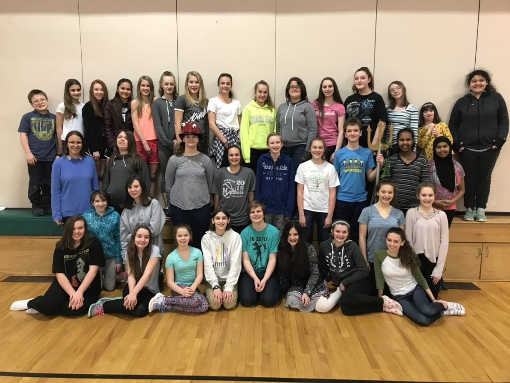 """The cast of 'The Little Mermaid Jr."""" in front, from left, are Christine Downs, Kelsi Morgado, Kamy Dube, Charlotte Bryant, Kaitlyn Ellis, Muriel Lattin, Maddie Perkins and Marta Norton. Second row, from left, are Anna Whitestone, Sinead Callahan, Averie Silva and Vanessa Richards. Third row, from left, are Anna Berkes, Emma Thilbodeau, Lydia Szakas, Caraline Squires, Drake Parker, Liberty Wells, James Lawson, Sarah Adam and Selma Adam. Back row, from left, are Eli Libby, Brie Lewis, Aleah Childs, Sophie Blanco, Elsa Gobel-Bain, Aundrea Abbott, Ahna Dostie, Lydia Rice, Mia Chicoine, Juliette Gomez-Lawson, Autumn Gerry, Emily Finch, Kaylie Thomas, Anna Tague- Lacrone and Peyton Tully."""