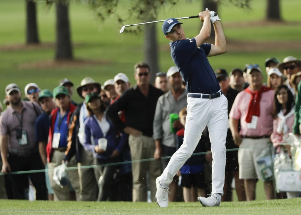 Jordan Spieth hits a shot on the 17th hole during the first round at the Masters on Thursday in Augusta, Georgia.