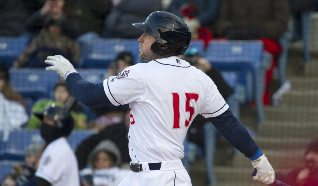 Tim Tebow, playing for the Binghamton Rumble Ponies, watches his three-run home run in the first inning Thursday against the Portland Sea Dogs in Binghamton, New York.