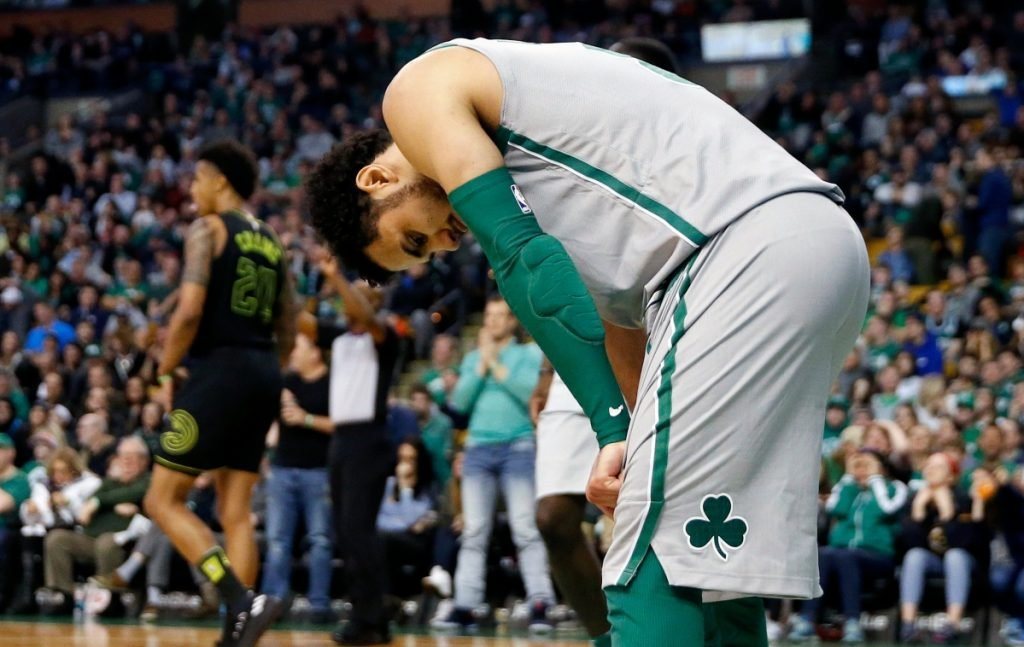 Boston's Shane Larkin reacts after missing a layup during the fourth quarter against Atlanta on Sunday in Boston.