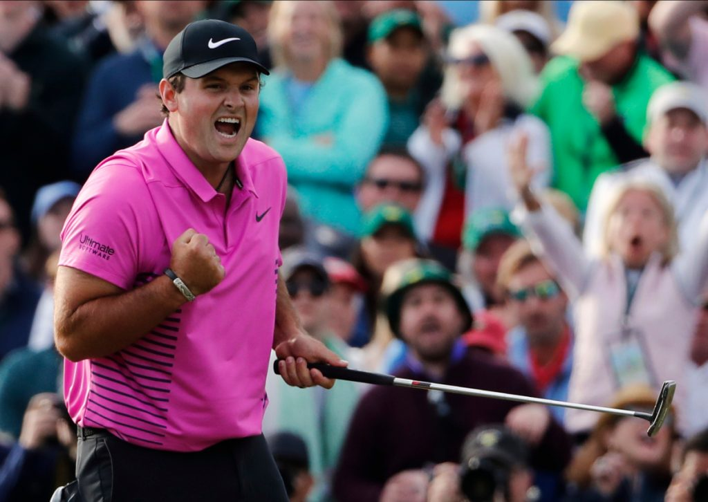 Patrick Reed reacts after winning the Masters on Sunday in Augusta, Georgia. Reed beat Rickie Fowler by one stroke for his first major win.