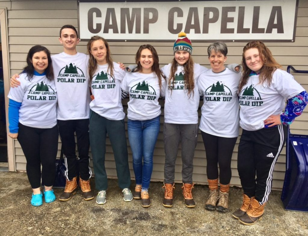 Six Hall-Dale High School Key Club members, led by Advisor Lydia Leimbach, recently jumped into Phillips Lake in Dedham to raise money for Camp Capella. From left are Kaylee Bickford, Anthony Romano, Naomi Lynch, Sierra Millay, Sarah Benner, Leimbach and Savannah Millay. The club has participated in the Camp Capella Polar Plunge for several years running. This year, the six students and their advisor raised more than $2,000 to provide summer camp opportunities for children and adults with disabilities.