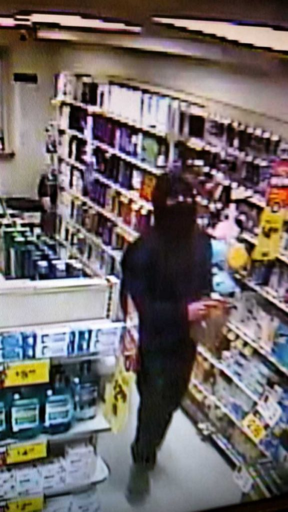 Police released this surveillance image of the man suspected of robbing Unity Pharmacy on Monday.