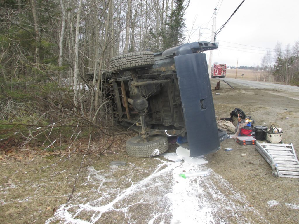 Jason Low, of Winslow, suffered minor injuries Wednesday morning when he swerved his 1991 Chevrolet pickup truck to avoid hitting a deer, striking three utility poles.