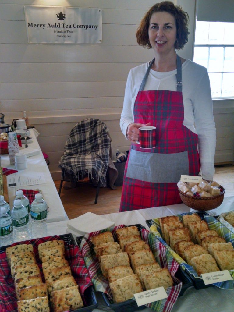 Mary Norwood of the Merry Auld Tea Company serves scratch-made scones, Scottish tea blends and Cock-a-Leekie soup at Tartan Day last year. This year's celebration will take place from 10 a.m. to 2 p.m. Saturday, April 14. at the Boothbay Railway Village.