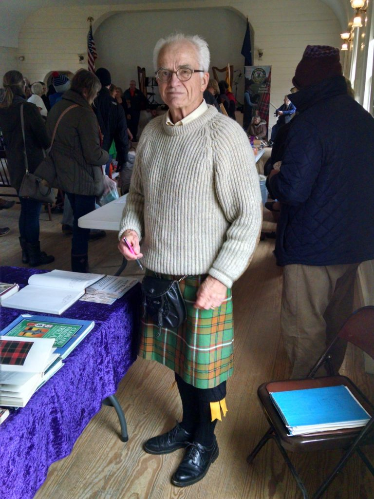 Highland dress, including kilts, is welcome but not required at the annual Tartan Day celebration hosted by the Boothbay Railway Village and the St. Andrews Society of Maine. Historian Bill McKeen is shown here wearing his kilt at last year's celebration while sharing his vast knowledge of Scottish history.