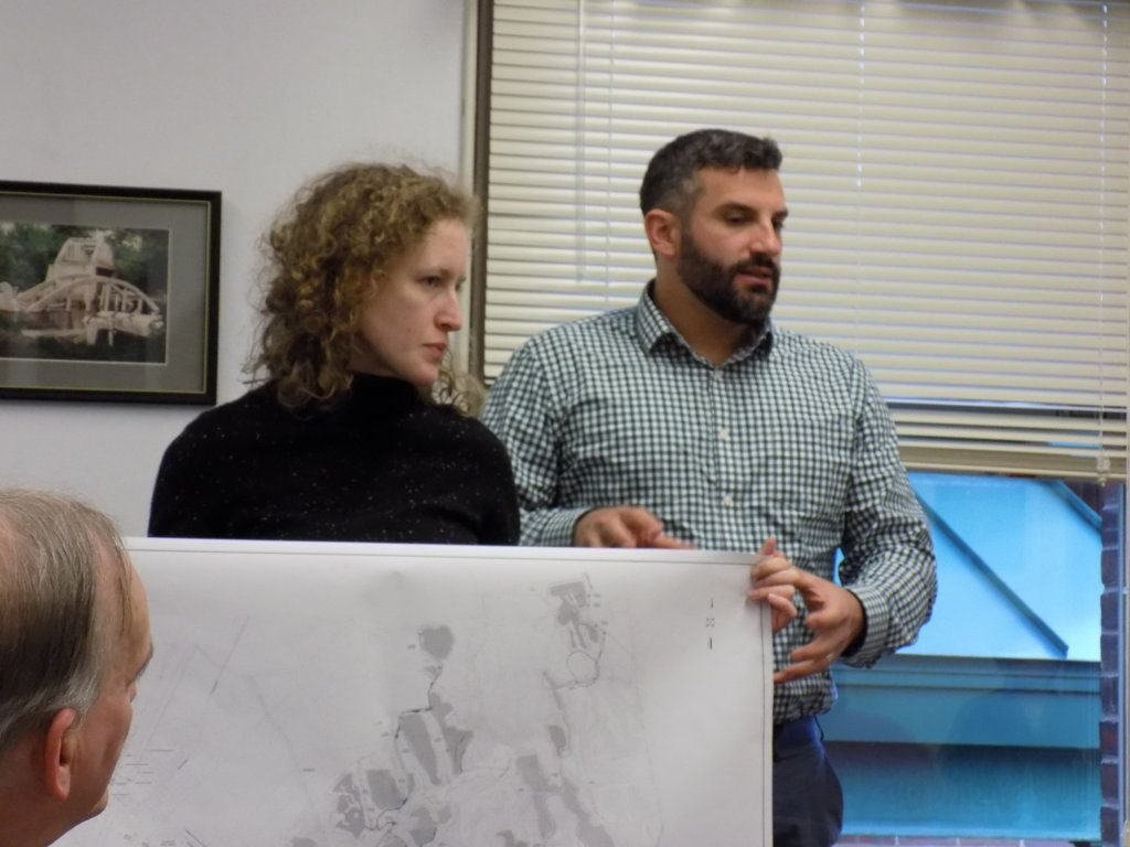 NextEra Energy representatives Liz Peyton and Aaron Svedlow update selectmen Tuesday evening on the nearly $100 million Farmington Solar Project.
