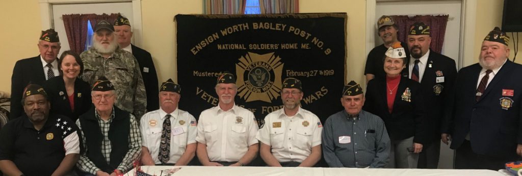 Honored guests for the 100th Anniversary Celebration, front, from left, included C. James Ware, VFW State Service Officer; Charles Wilcox, Post 9; Ted Smith, Surgeon, Post 9; Greg Couture, Adjutant/Quartermaster, Post 9; Roger Line, Commander, Post 9; Ralph Sargent Jr. Vice Commander, Post 9; Debra Couture, Sr. Vice Commander, Post 9; and Richard Farris, VFW State Commander 2017-18. Back, from left, are Andre Dumas, VFW State Adjutant; Harlan Brown, Post 9; David Williams, VFW State Quartermaster; Mark Carter, Post 9; and Steve SanPedro, VFW Past State Commander, 2016-17. Also in attendance, but missing from photo, were Earl Stevens, Chaplain, Post 9; Bruce Davis, Judge Advocate, Post 9; and Bill Baxter, Post 9.