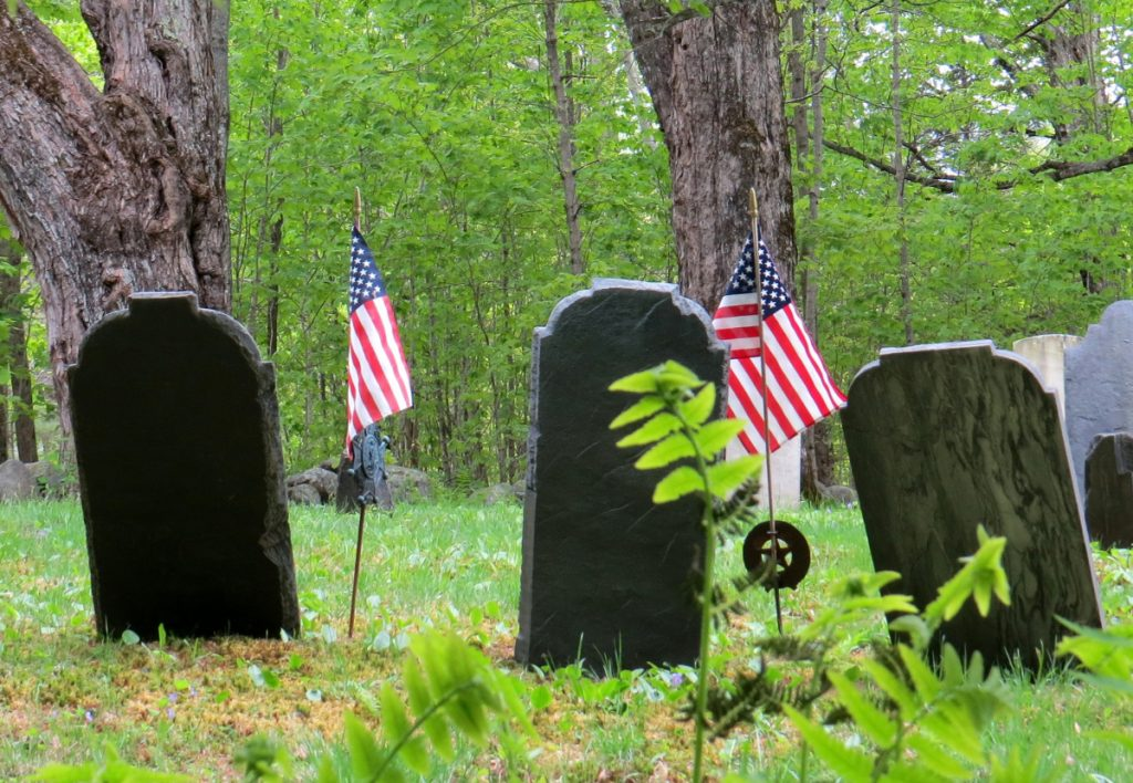 These stones mark the graves of some Packard men in Kents Hill Cemetery. They were among dozens of Revolutionary War Patriots who lived and are buried in Readfield and Winthrop.