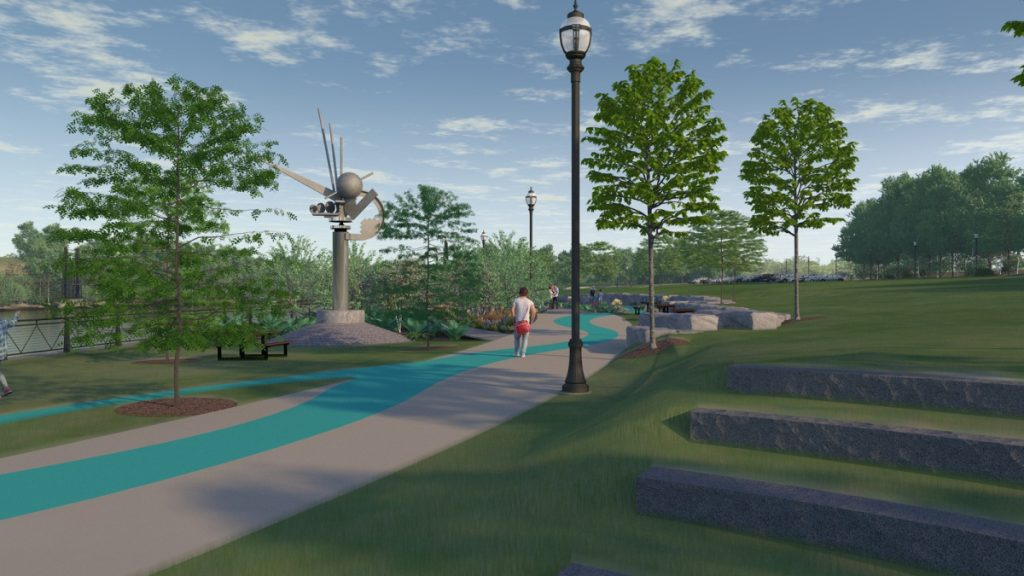 """Mitchell & Associates landscape designers, of Portland, envision """"The Ticonic"""" sculpture overlooking the Kennebec River from Waterville's proposed RiverWalk."""