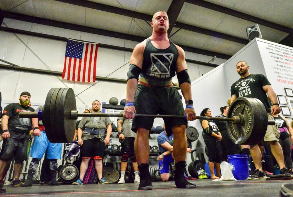 Alex Gauvin competes in the 201-231 pound class last man standing deadlift at the Central Maine Strongman contest Saturday in Augusta.
