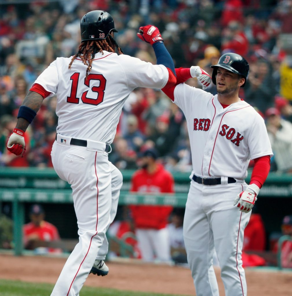 AP photo Boston Red Sox first baseman Hanley Ramirez (13) celebrates his two-run home run that also drove in Andrew Benintendi, right, during the first inning Saturday against the Baltimore Orioles in Boston.