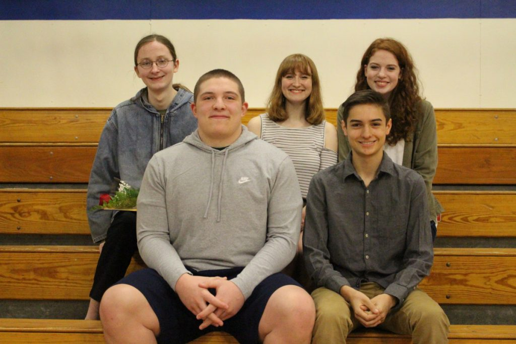 Erskine Academy Seniors of the Trimester awards were present to the following, in front, from left, Jake Peavey, and Luke Hodgkins; in back, from left, Corvus Crump, Gabriella Pizzo and Noelle Cote.