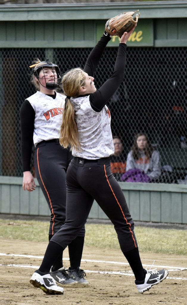 Winslow pitcher Broghan Gagnon fields a pop-up for the out against Waterville on Wednesday in Winslow.