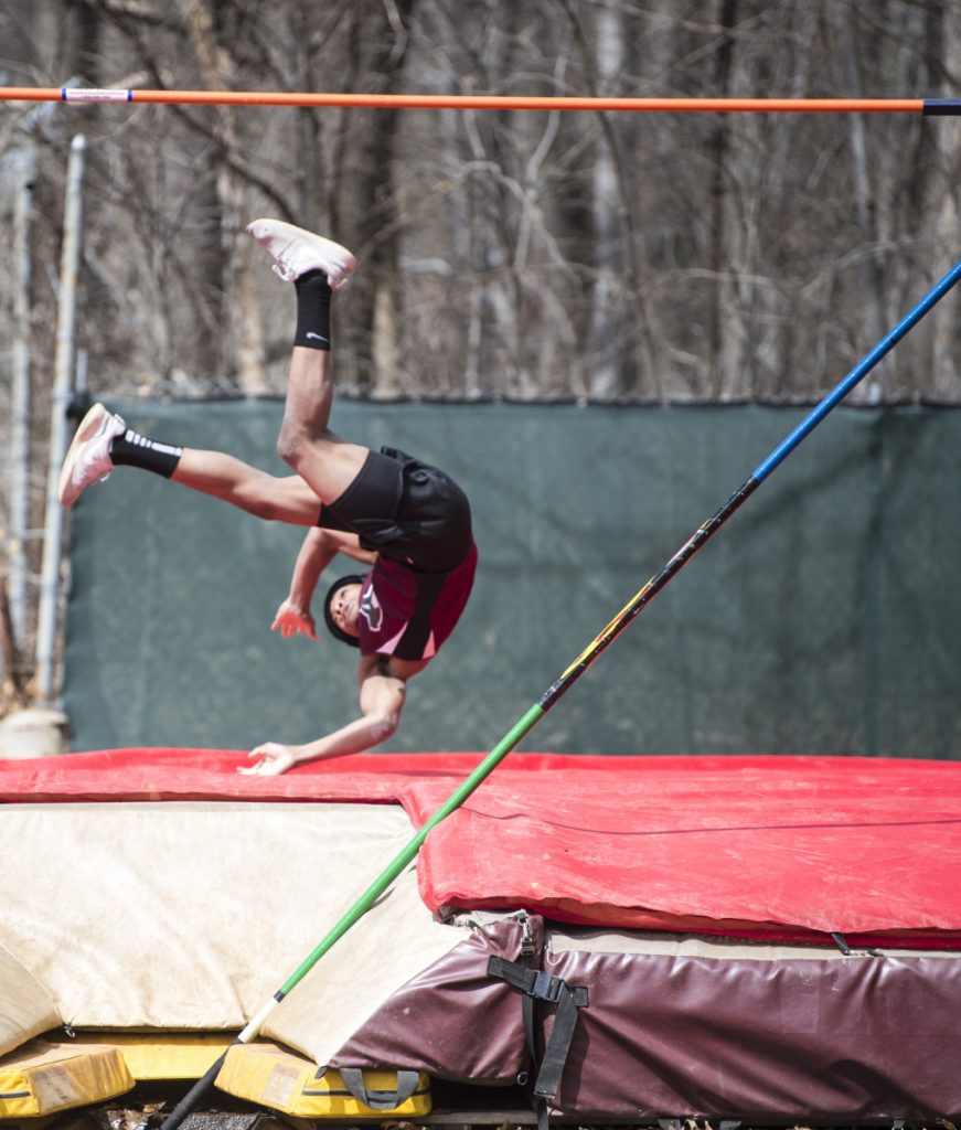 Maine Central Institute's Zyanthony Moss competes in the pole vault at the Waterville Relays on Saturday in Waterville.