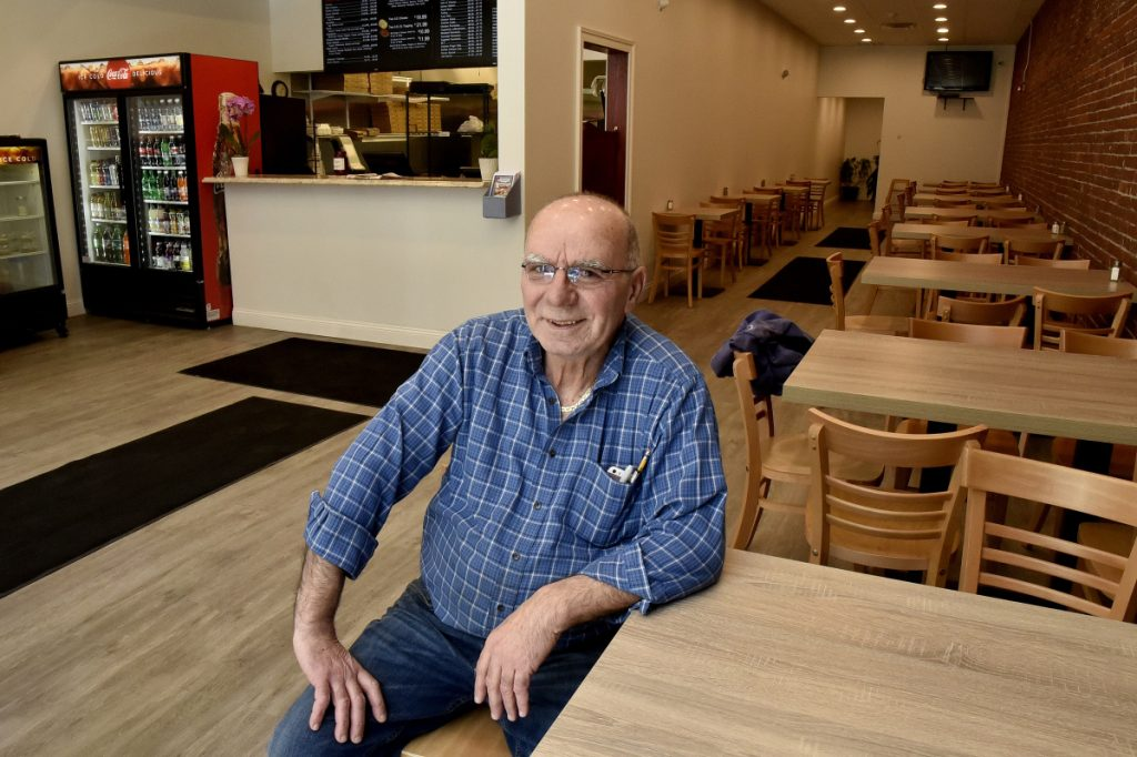Stavros Kosmidis, owner of Waterville House of Pizza, inside the new location of the restaurant that is adjacent to the previous location on Main Street in downtown Waterville on Monday.