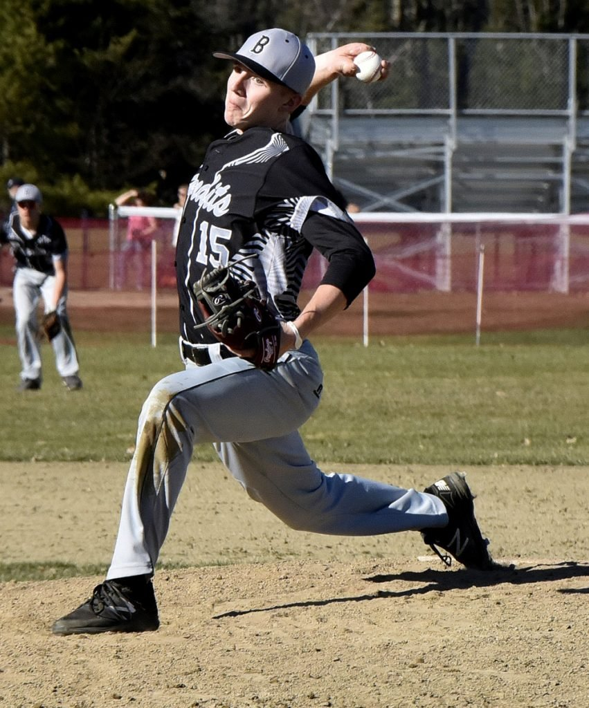 Staff photo by David Leaming   Bridgeway's Evan Holzworth throws a pitch against Hall-Dale during a Mountain Valley Conference game Monday in Farmingdale.