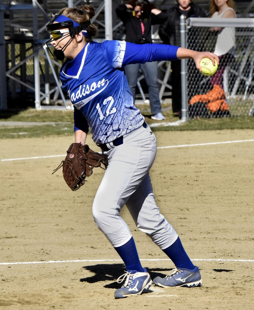 Madison starting pitcher Lauria LeBlanc throws during a Mountain Valley Conference game against Hall-Dale on Monday in Farmingdale.