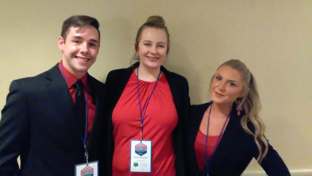 Thomas College business students recently placed third in a national competition at the Society for the Advancement of Management International Conference. From left are Landon Wilbur, Kaitlyn Rourke and Amanda Landry.