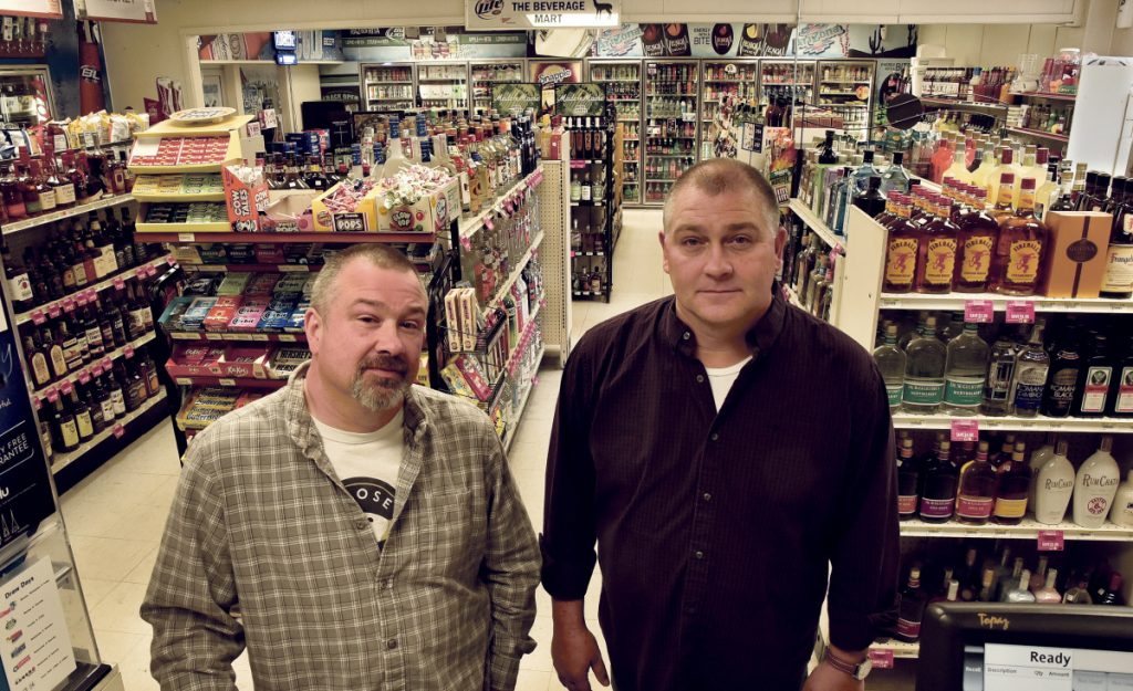 The Damon family owns seven stores in the area, including The Beverage Mart in Skowhegan, where Rusty Damon, left, and Jeff are pictured Thursday. The family has been awarded the 2017 Business Person of the Year by the Mid-Maine Chamber of Commerce.