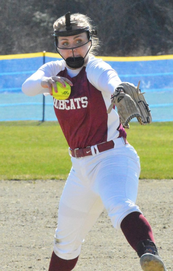 Richmond pitcher Sydney Underhill-Tilton prepares to fire a pitch during a game against Rangeley on Tuesday in Richmond. Underhill-Tilton struck out 12 and allowed just one hit in a 14-0 season-opening win over the Lakers.