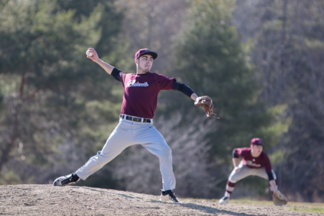 Photo by Jennifer Bechard   Richmond pitcher Zach Small throws during a game against Rangeley on Tuesday afternoon in Richmond.