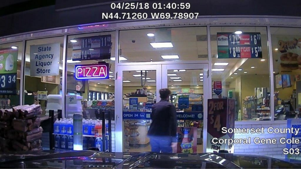 Police said this dashboard camera video image shows John Williams, the man suspected of killing Cpl. Eugene Cole early Wednesday morning, after he stole the policeman's cruiser and committed a theft at a Cumberland Farms store in Norridgewock.