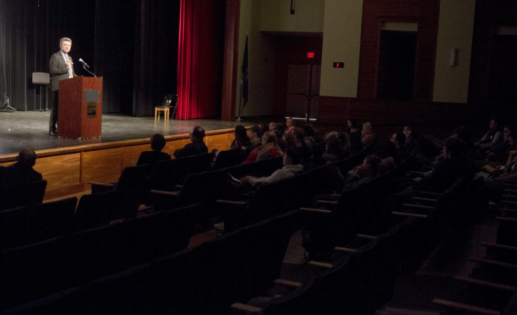 German Consul General Ralf Horlemann speaks on Thursday at Cony High School in Augusta.